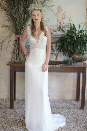 Longue robe en crépe