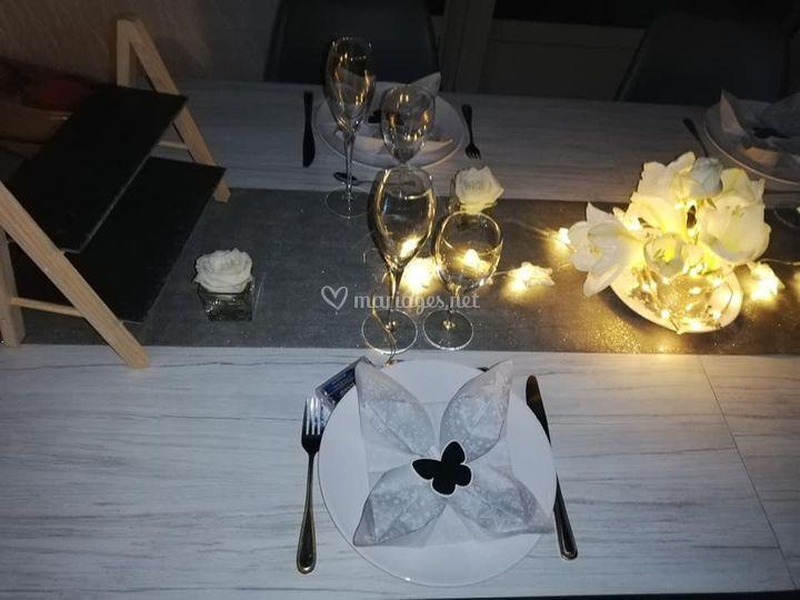 Décoration table avec lumières