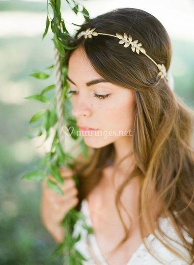Headband mariage doré