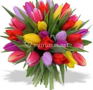 Bouquet rond tulipe multicolore