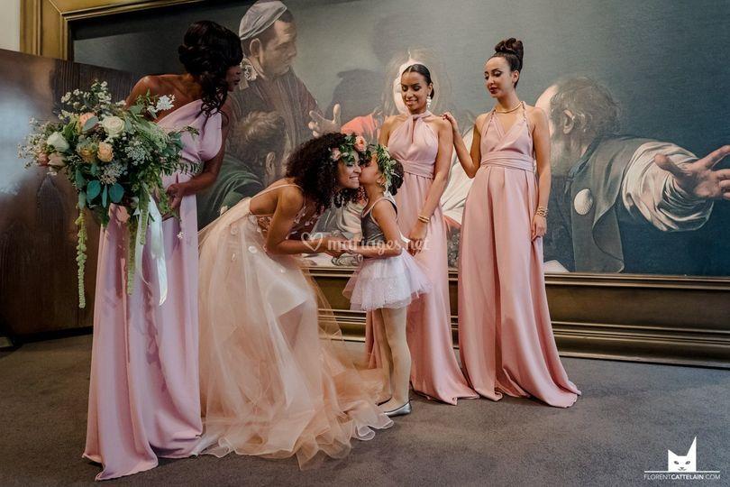 Robe de mariée et demoiselles