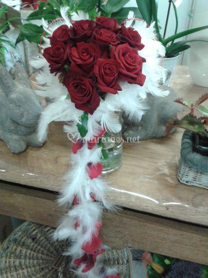 Bouquet mariée plume