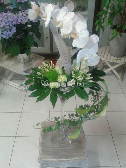 Composition vase martini