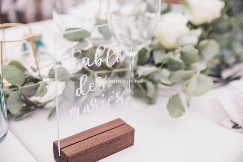 Nom de table marage eucalyptus