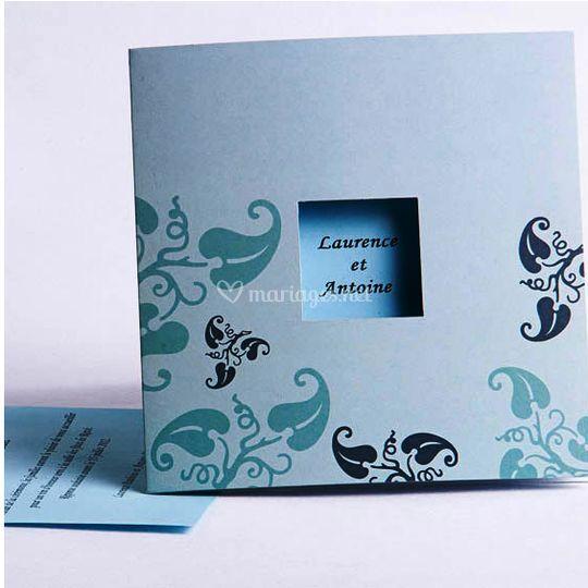 Faire Part Mariage Bleu Fleur FPO0175213 [FPO017]   ?0.00