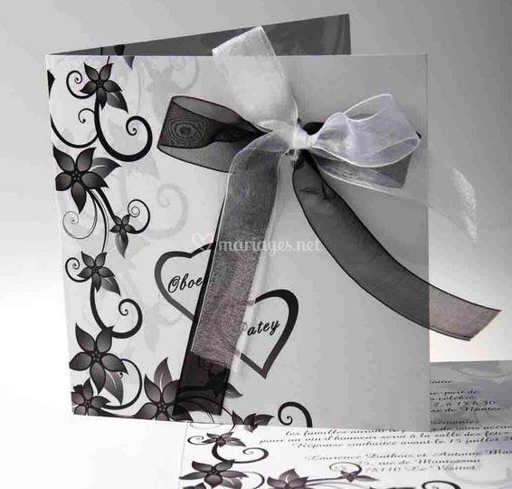 Faire Part Mariage Fleur et Coeur FPH001 [FPH001]   ?0.00
