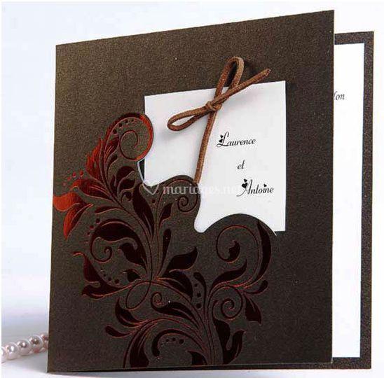 Faire Part Mariage Fleur Rouge Et Chocolat FPO039 [FPO039]   ?0.oj00