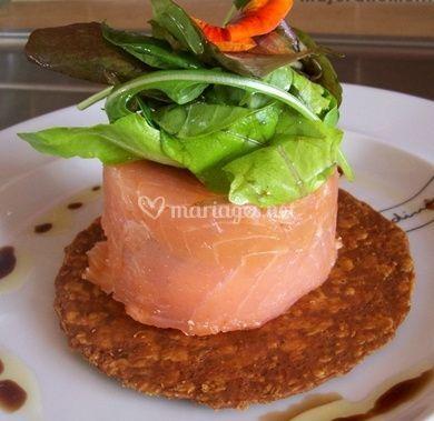 Duo de saumon en dariole au caviar d'aubergine