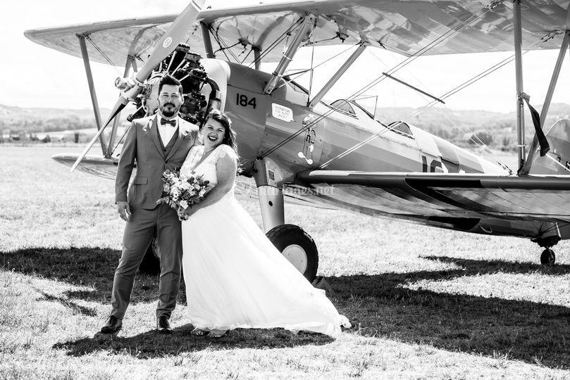 Photos de couple avion vintage
