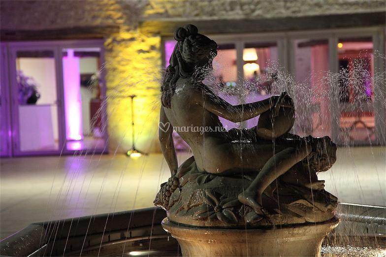 Terrasse avec fontaine