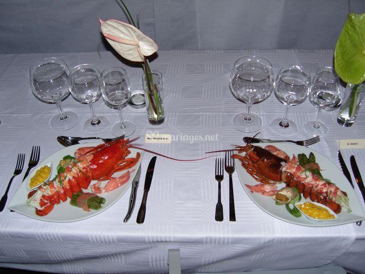 Assiettes d'homard