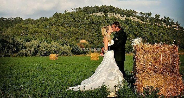 Les mariés dans un cadre enchanteur