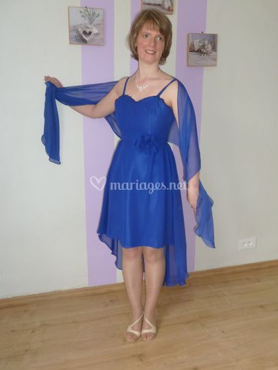 Robe cocktail bleu royal