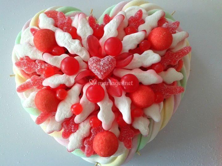 Centre de table bonbons coeurs