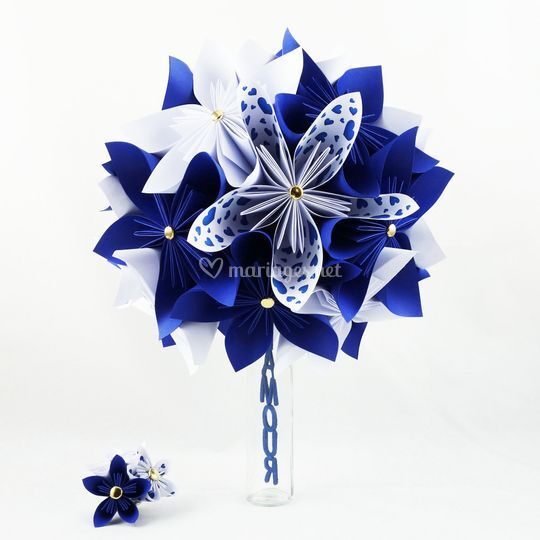Bouquet mariage bleu roi blanc