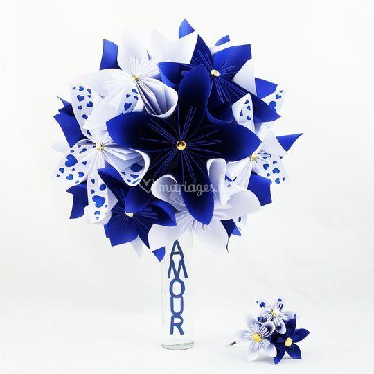 Bouquet mariee bleu et blanc