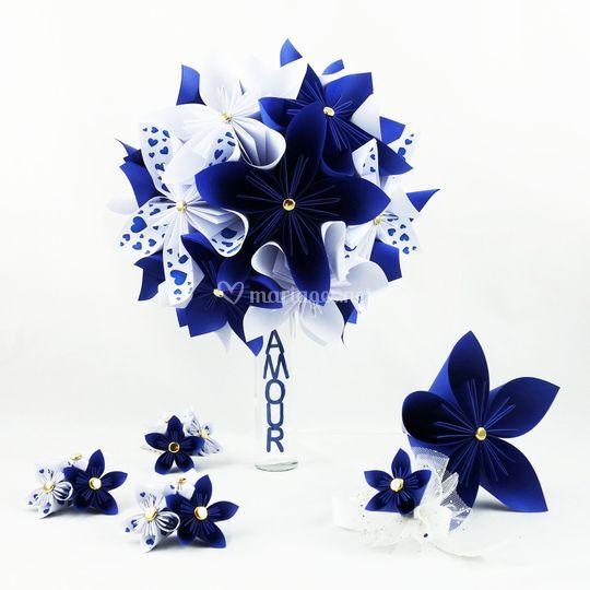 Bouquet de mariée bleu roi