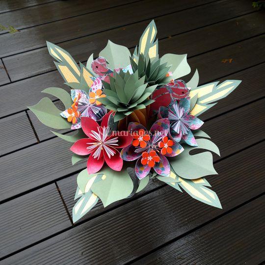 Bouquet mariée exotique papier