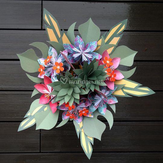 Bouquet mariée tropical papier