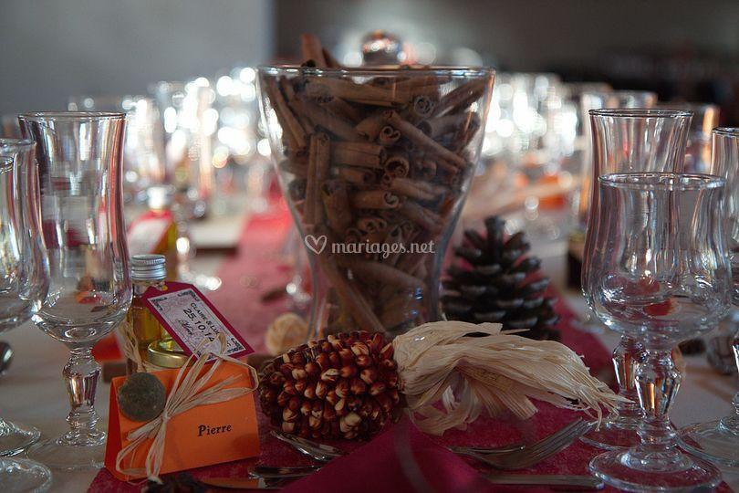 Décoration table mariage thème