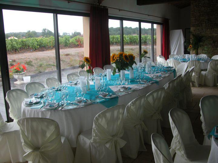 Salle avec vue sur les vignes