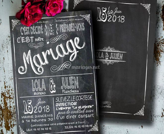 Faire-part ardoise vintage