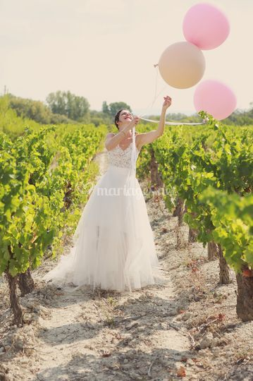 Mariée dans les vignes