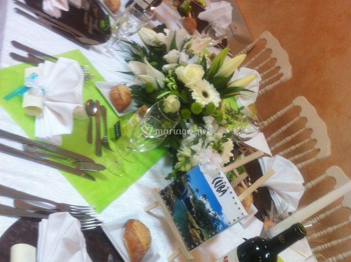 Table thème vert anis