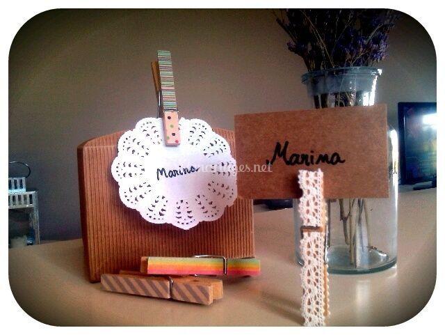 Tutoriel marque place avec pince linge customis e - Cadre photo avec pince linge ...