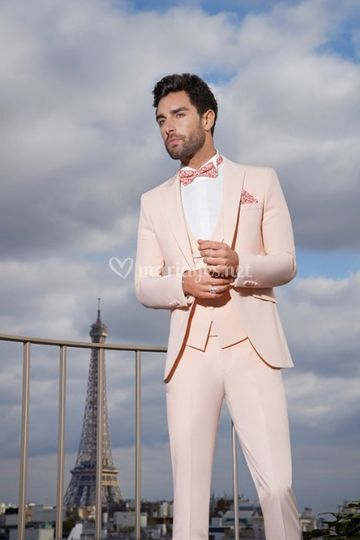 Costume mariage homme Miami rose