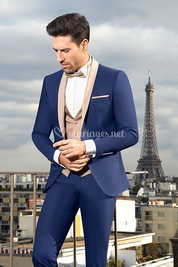 Smoking mariage homme Madrid bleu beige