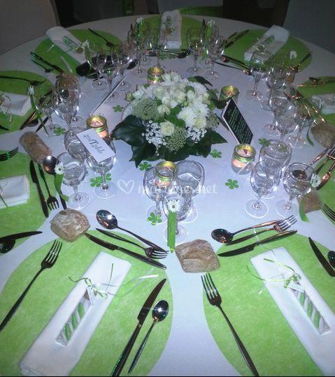 Centre de table blanc / vert
