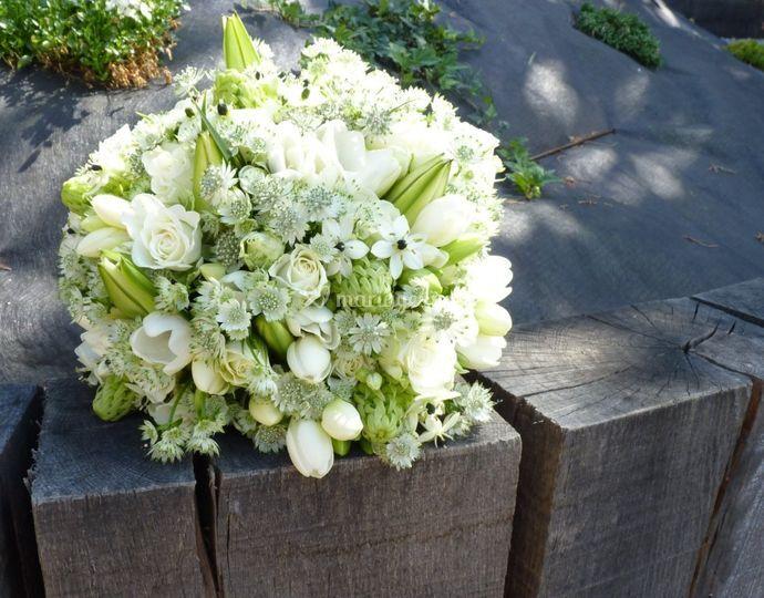 Bouquet de mariée blanc / vert