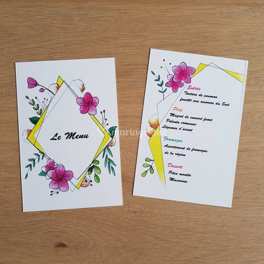 """Losange floral"" menu"