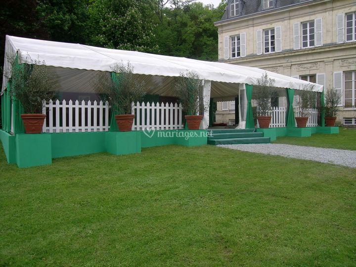 Tente de 10mx15m avec habillage coton
