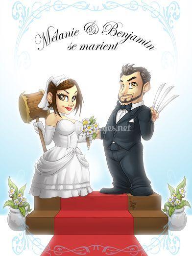 Wedding cake caricatures