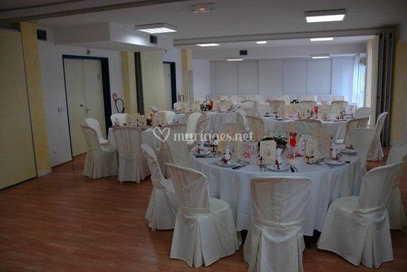 La salle décorée