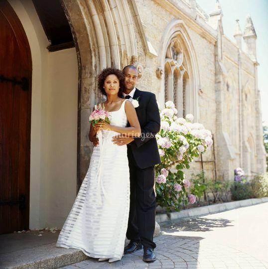 Photo sortie des mariés