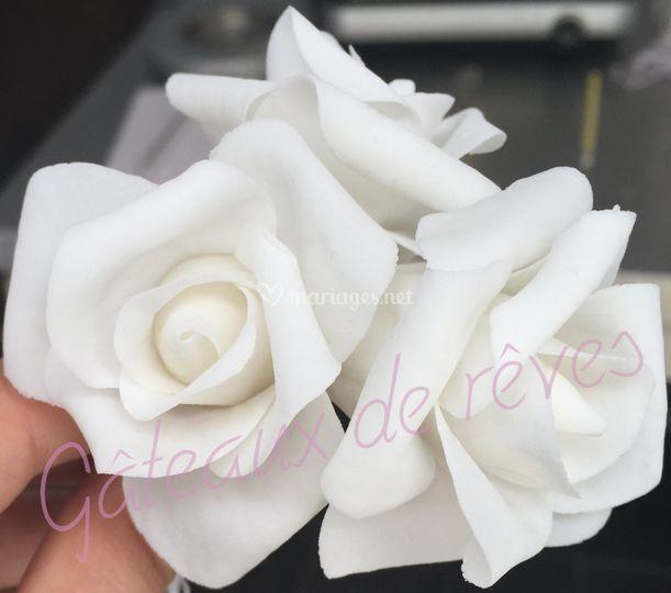 Roses blanche en sucre