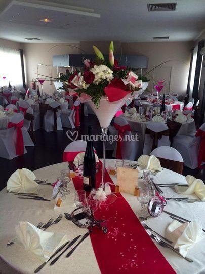 Deco de table rose fushia