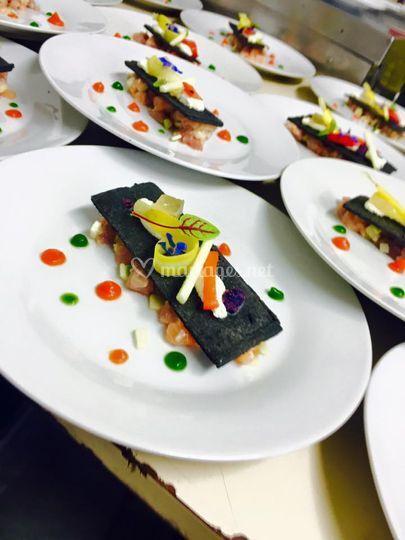 Tartare de thon et saumon