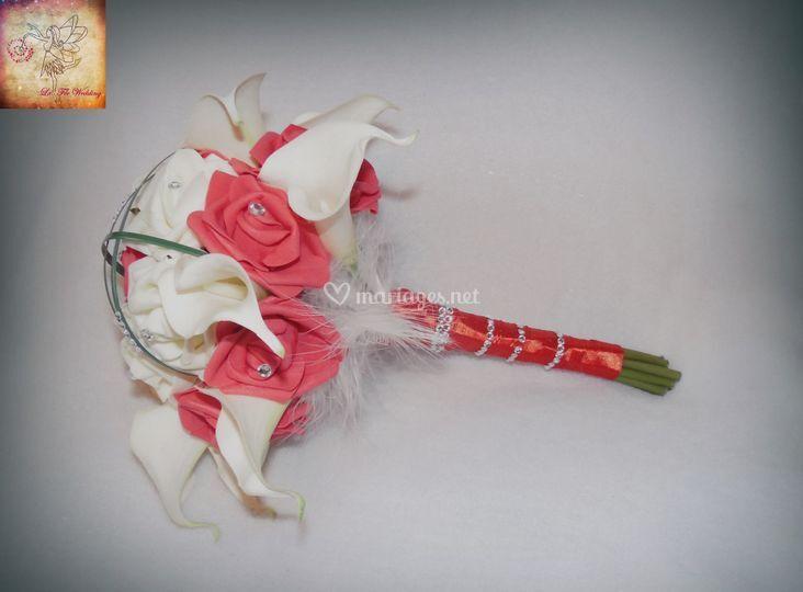 Bouquet d'arums et roses
