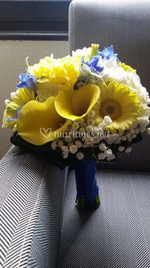 Bouquet de mariée jaune bleu