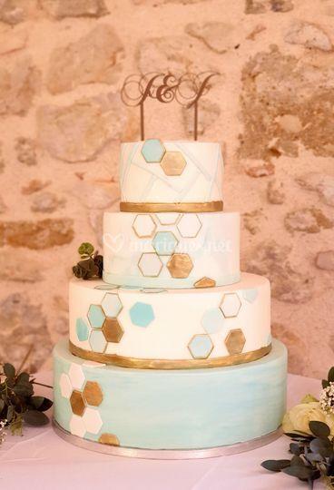 Gâteau de mariage géométrique