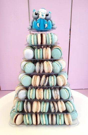 Piece monté macarons bleu