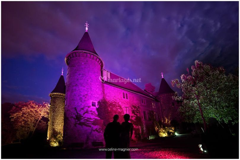 Eclairage de nuit d'un château