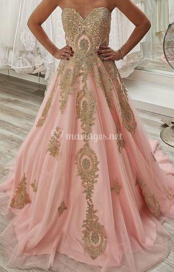 Robe princesse rose pale et or