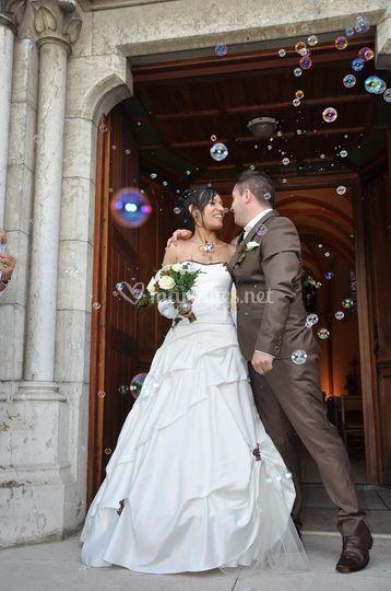 Robe de mariée ivoire/chocolat
