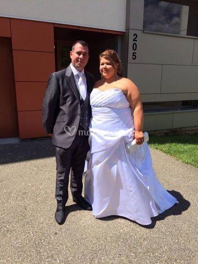 Robe de mariée bustier satin