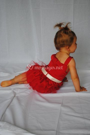 Robe enfant satin rouge
